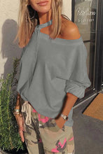 Load image into Gallery viewer, Gray Cut Out Shoulder Sweatshirt