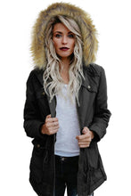 Load image into Gallery viewer, Black Zipper Snaps Pocket Plush Hooded Parka Jacket