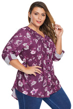 Load image into Gallery viewer, Rose Floral Pintuck Plus Size Blouse