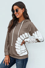 Load image into Gallery viewer, Women's Brown Oversized Pocket Front Print Sweatshirt Drawstring Hoodie