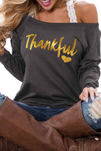 Load image into Gallery viewer, Gray THANKFUL Print Off Shoulder Long Sleeve Top without Strap