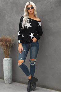 Fashion Five-pointed Star Print Round Neck Black Sweatshirt
