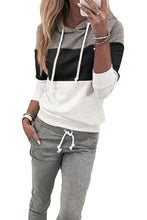 Load image into Gallery viewer, Black Drawstring Design Colorblock Hooded Top & Pant Set