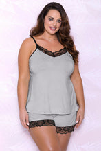 Load image into Gallery viewer, Gray Plus Size Pajamas Set with Lace Trim