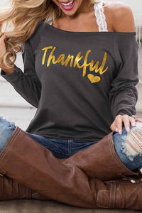 Gray THANKFUL Print Off Shoulder Long Sleeve Top without Strap