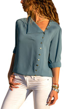 Load image into Gallery viewer, Slate Blue Turndown Collar Asymmetric Button Down Blouse
