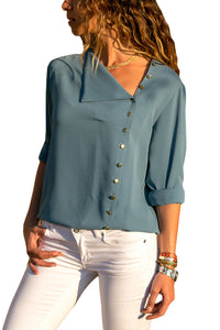 Slate Blue Turndown Collar Asymmetric Button Down Blouse