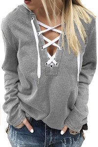 Light Gray Split Neck Lace-up Solid Color Hoodie