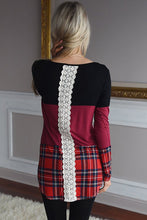 Load image into Gallery viewer, Black Red Block Plaid Splice Long Sleeve Top
