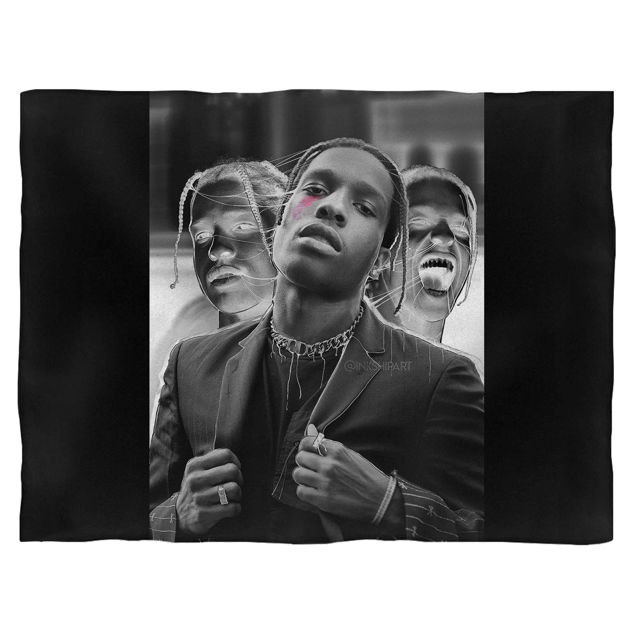 Asap Rocky Stylized Photo Fleece Blanket