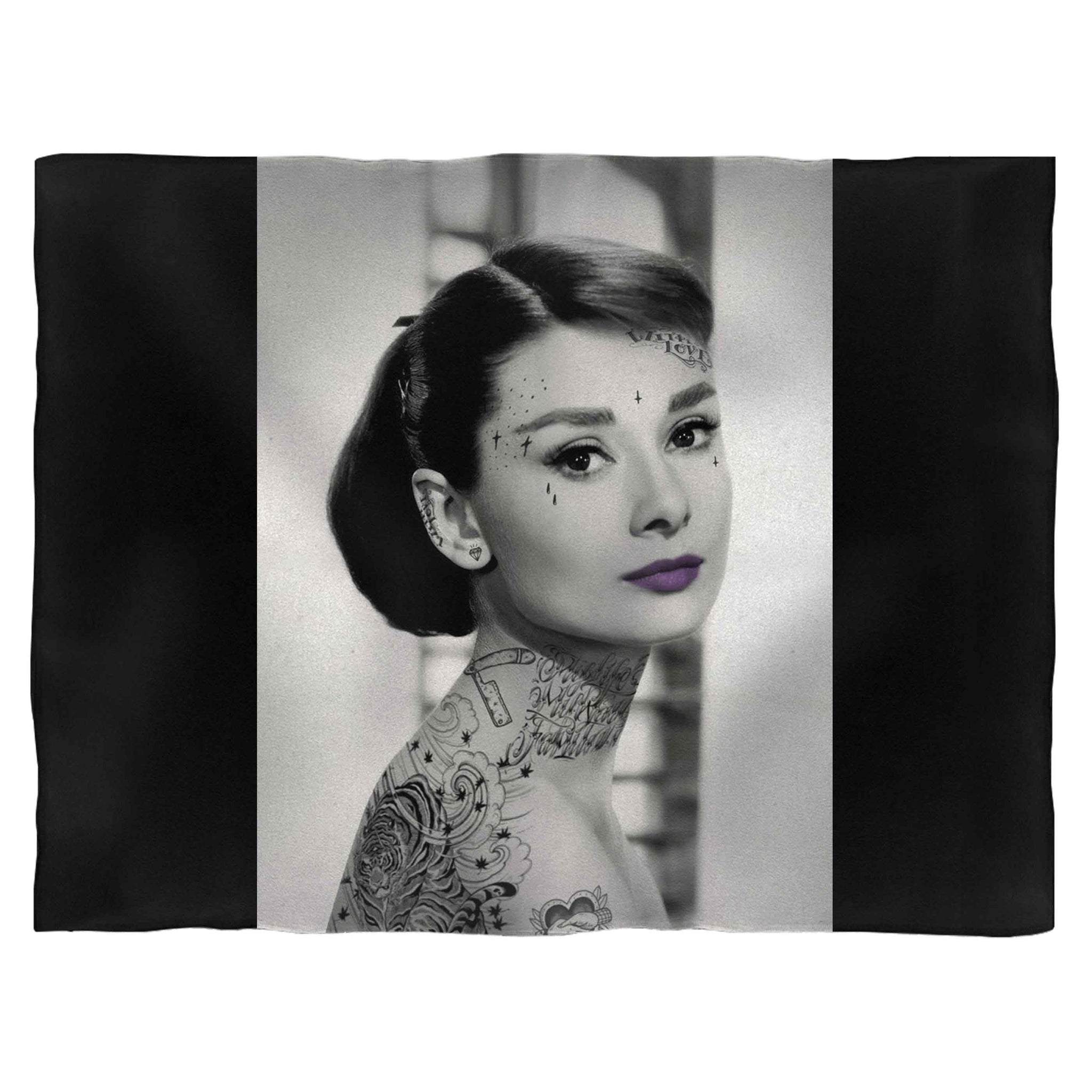 Audrey Hepburn Steampunk Tattoo Fleece Blanket