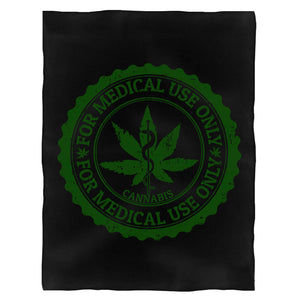 Cannabis For Medical Use Only Jamaica Weed Fleece Blanket