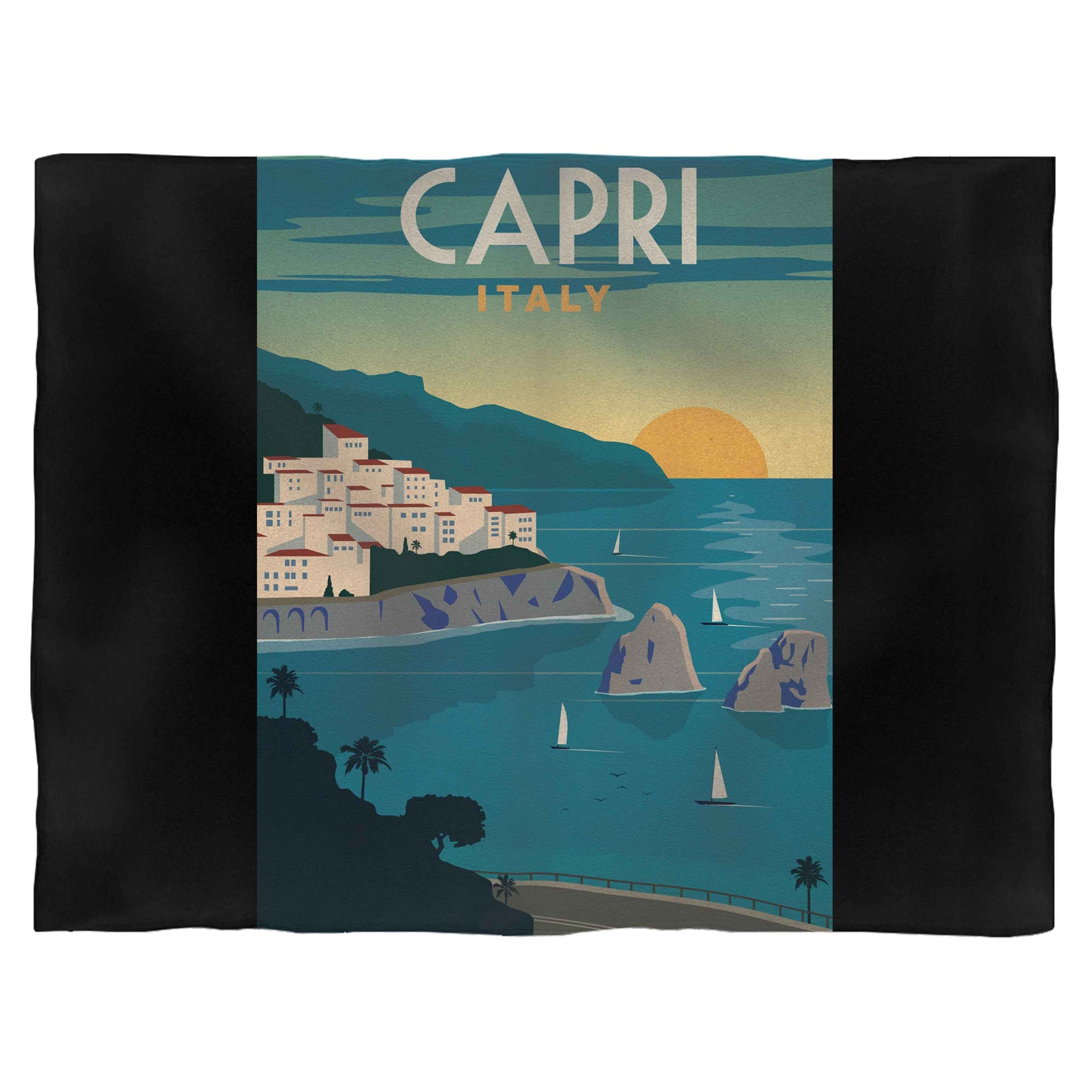 Capri Italy Vintage Painting Art Fleece Blanket