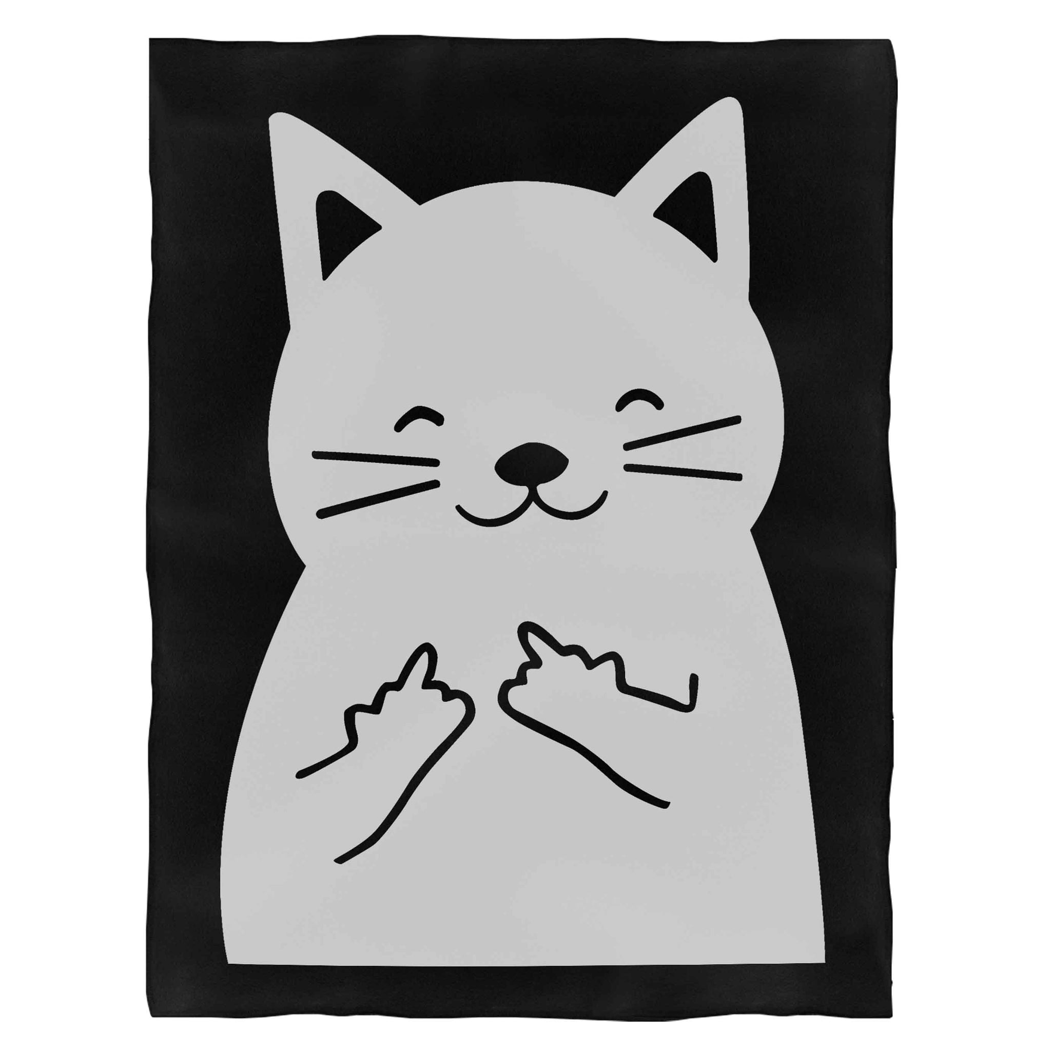 Cat Middle Finger Fleece Blanket