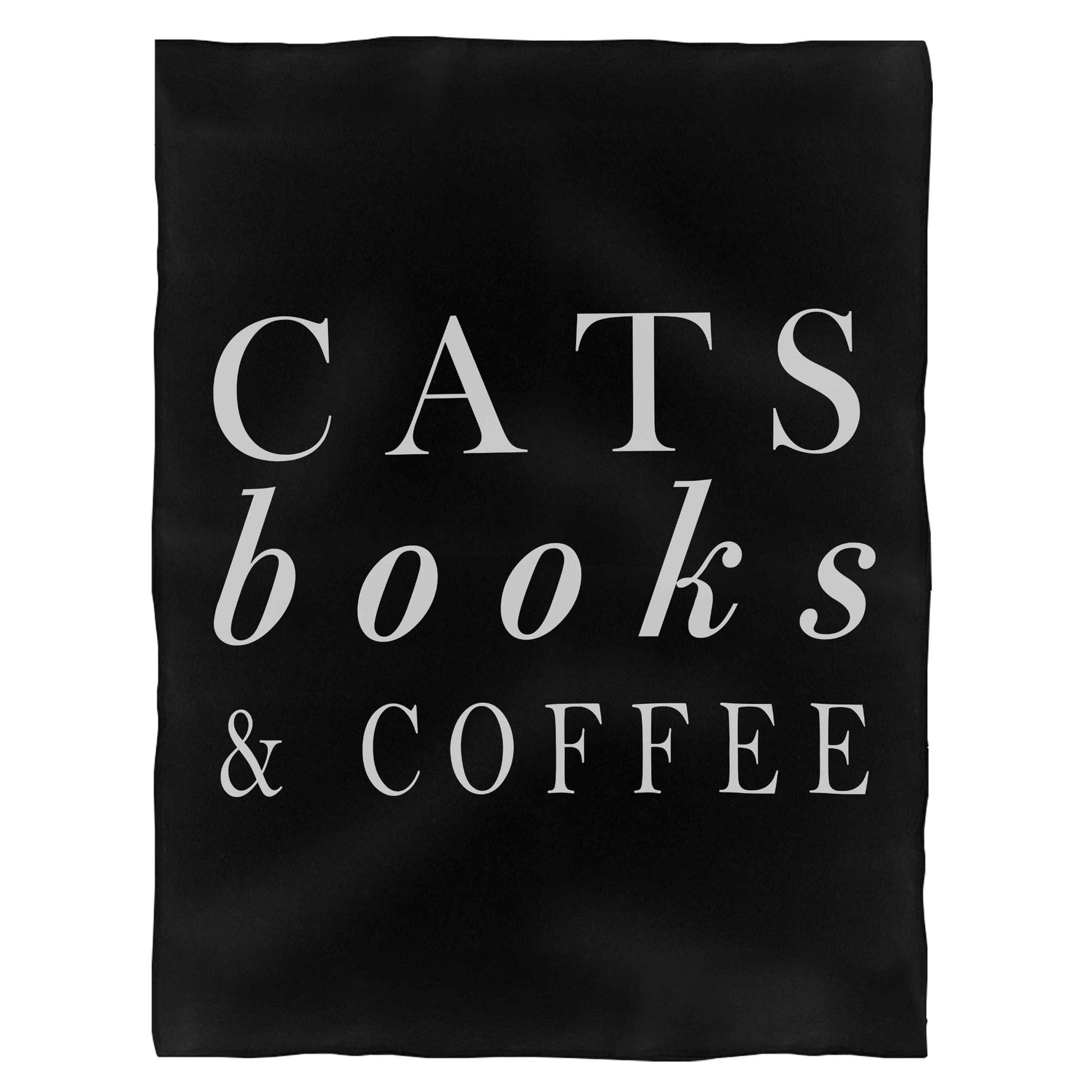 Cats Books And Coffee Fleece Blanket