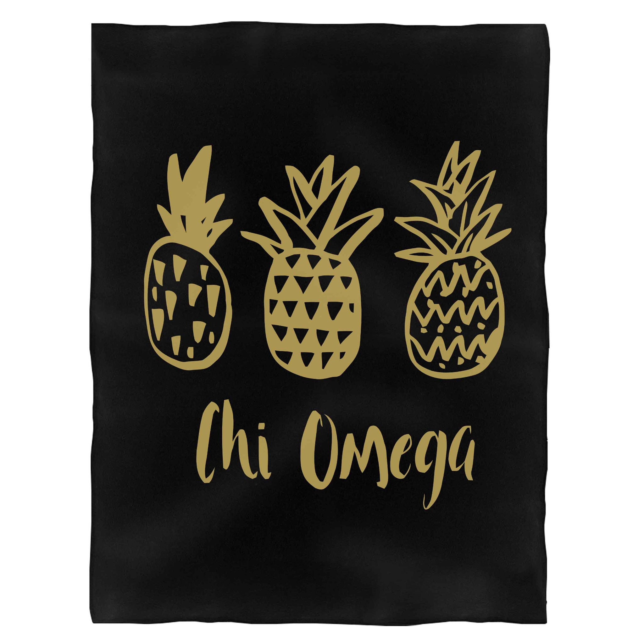 Chio Chi Omega Faux Gold Foil Pineapple Fleece Blanket