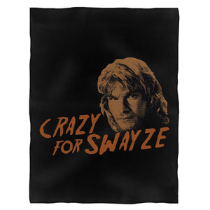Crazy For Swayze Funny Love Patrick Swayze Movie Road House Dirty Dancing Vintage Fleece Blanket