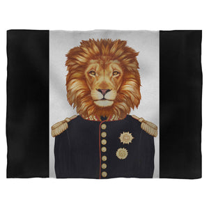 General Lion With Military Uniform And Mad Medals Fleece Blanket