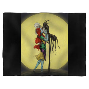 Jack And Sally Loving Kiss Fleece Blanket