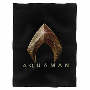 Justice League Movie Aquaman Logo Dc Comics Licensed Fleece Blanket