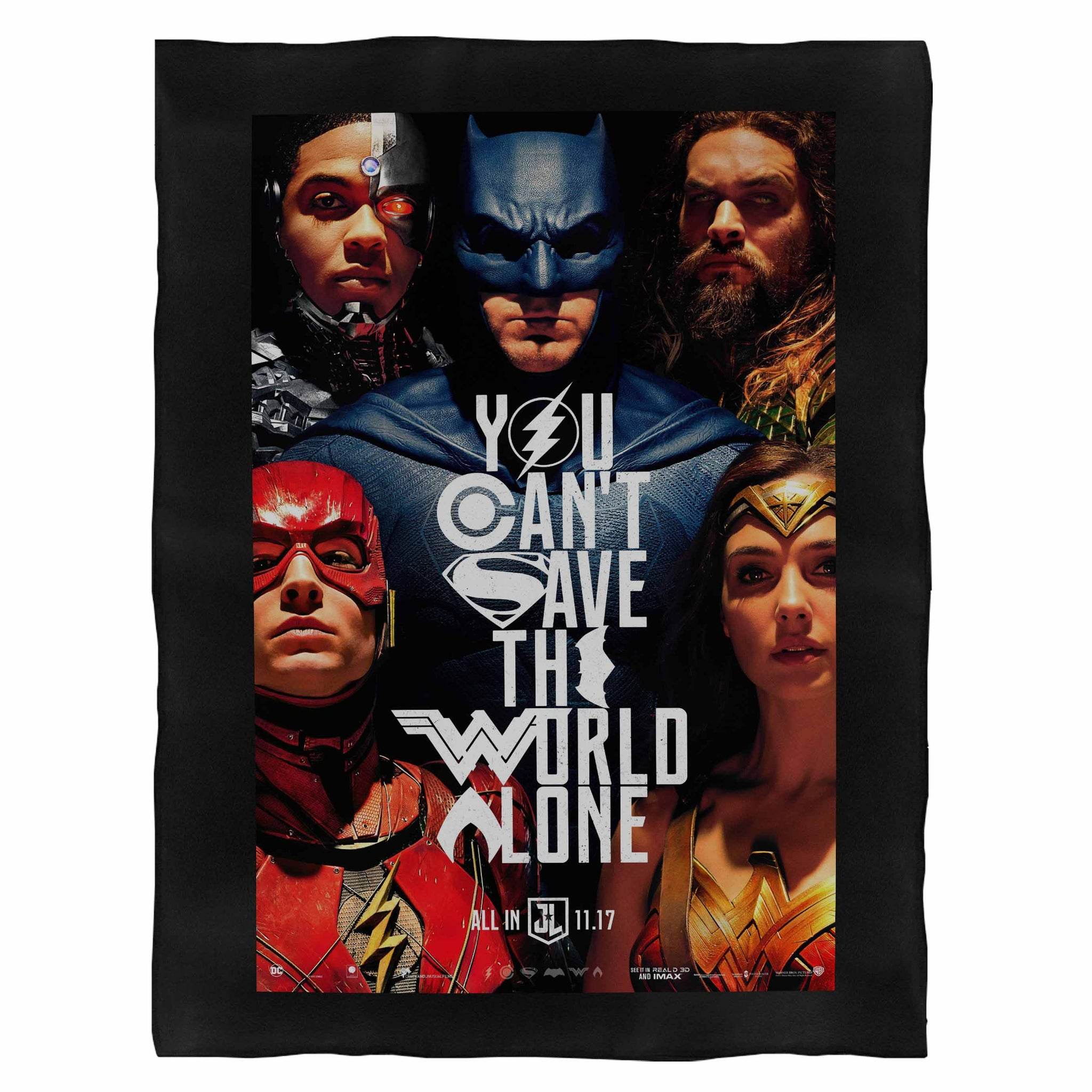 Justice League You Can'T Save The World Alone Fleece Blanket