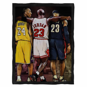 Kobe Bryant Michael Jordan Lebron James Nba Basketball Fleece Blanket