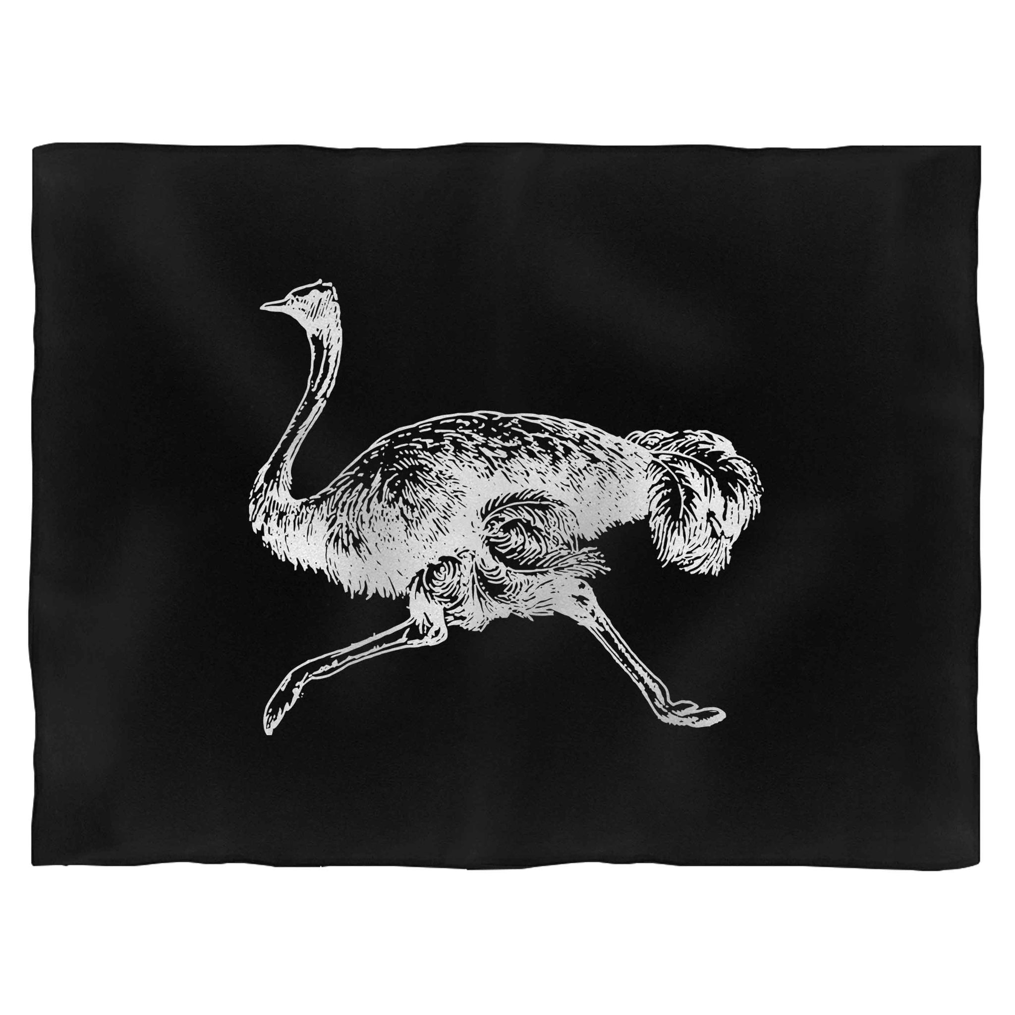 Sprinting Ostrich Fleece Blanket
