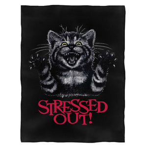 Stressed Out Cat Fleece Blanket