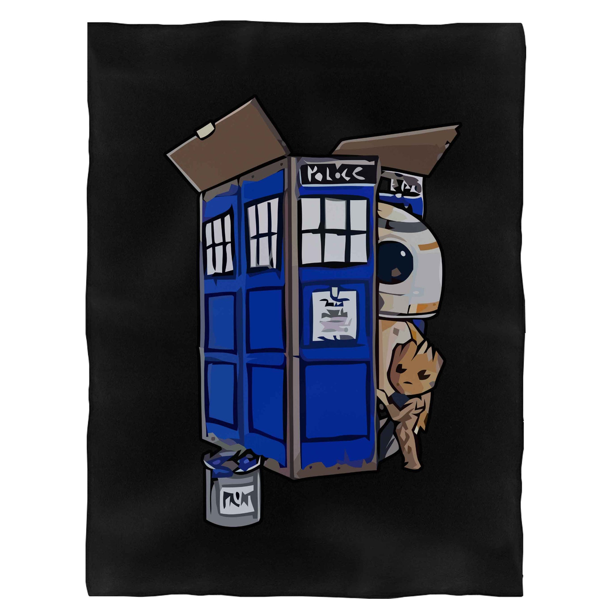 Tardis Box Groot Droid Bb-8 Funny Fleece Blanket
