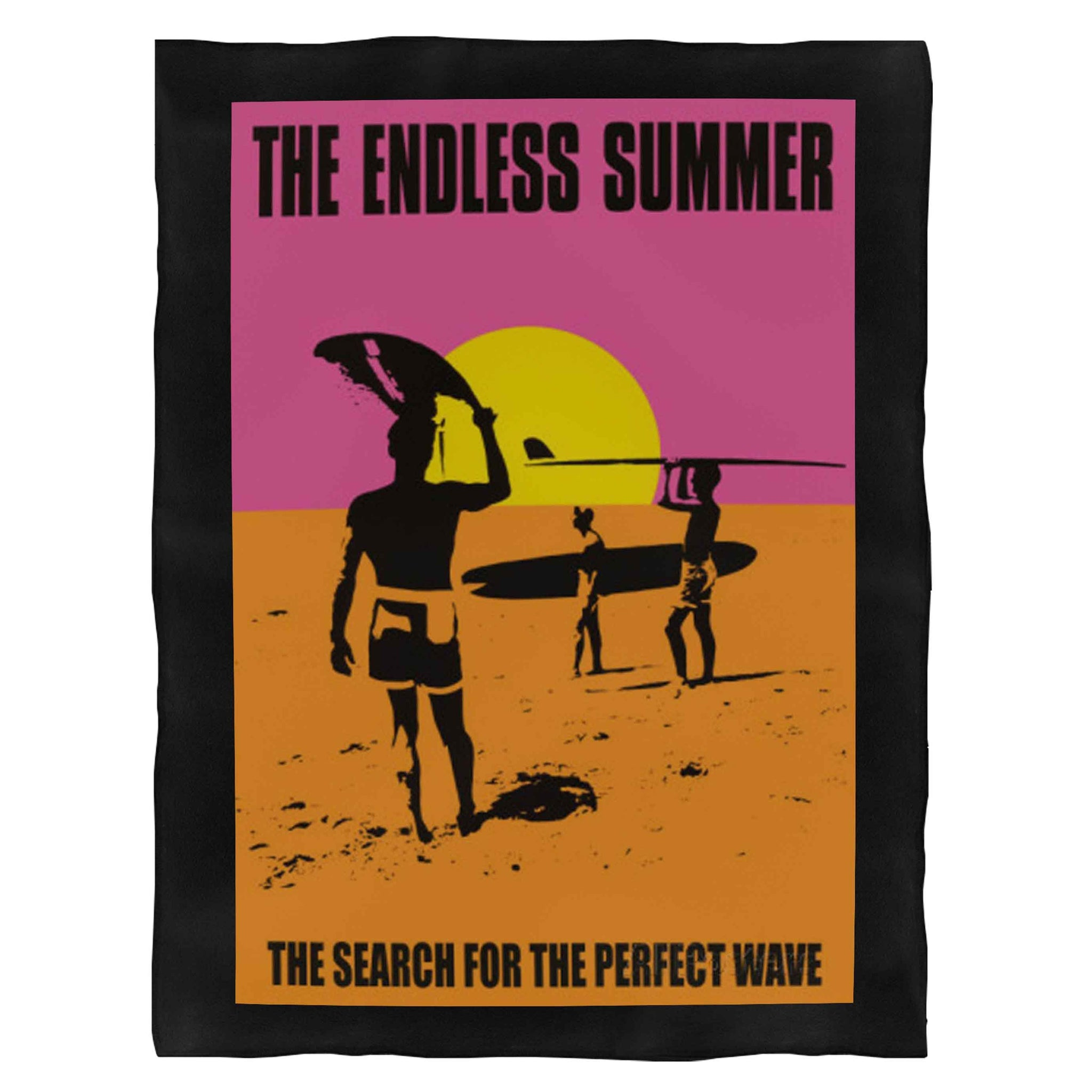 The Endless Summer Surfer Wave Ocean Beach Retro Vintage Fleece Blanket