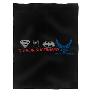 The Real Superheroes Us Air Force Fleece Blanket