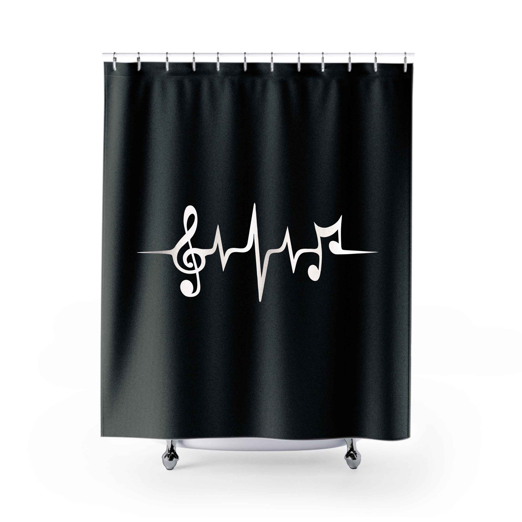 Music Pulse Notes Clef Frequency Wave Sound Dance Shower Curtains
