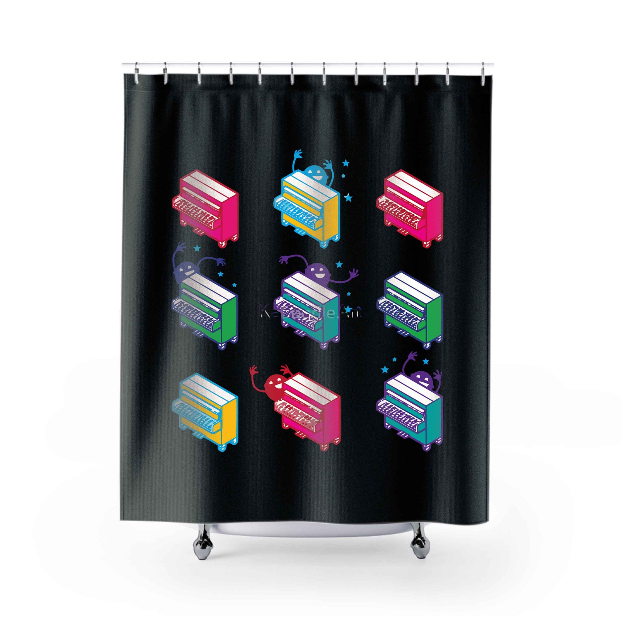 Piano Key Pixies Shower Curtains