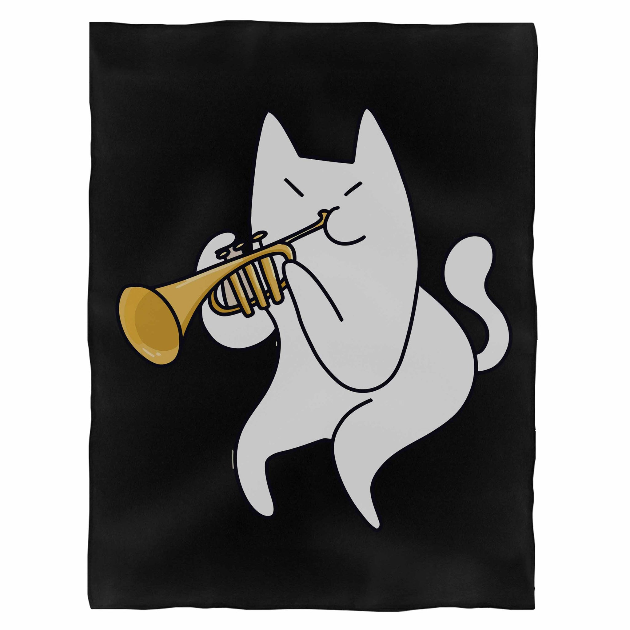 Trumpet Cat Fleece Blanket