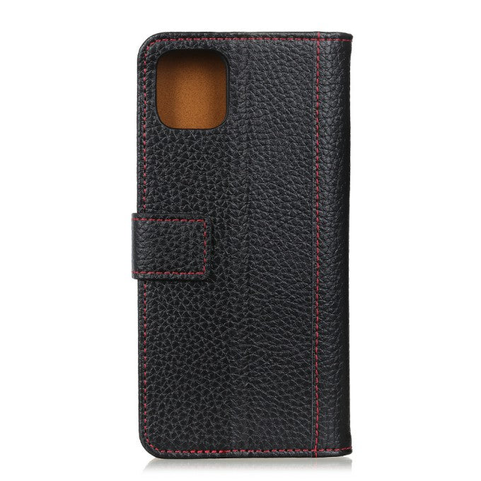 Custer/litchi Contrast Color Litchi Texture Leather Phone Case for iPhone 12 Pro Max 6.7 inch