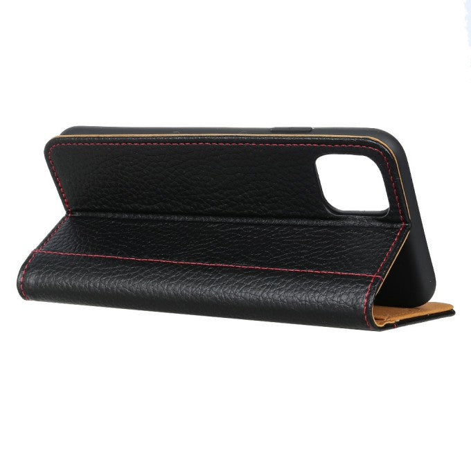 Contrast Color Litchi Texture Leather Case for iPhone 12 Pro Max 6.7 inch