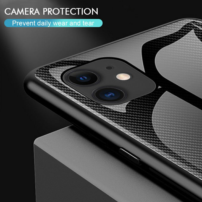 Carbon Fiber Texture Glass Back + TPU Protective Case for iPhone 12 5.4 inch