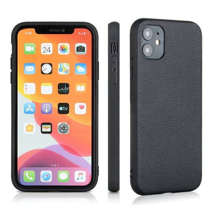 Genuine Leather Coated PC + TPU Hybrid Cover for iPhone 12 Pro/12