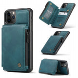 PU Leather Protective Case with Zipper Pocket Card Slots for iPhone 11 Pro 5.8 inch