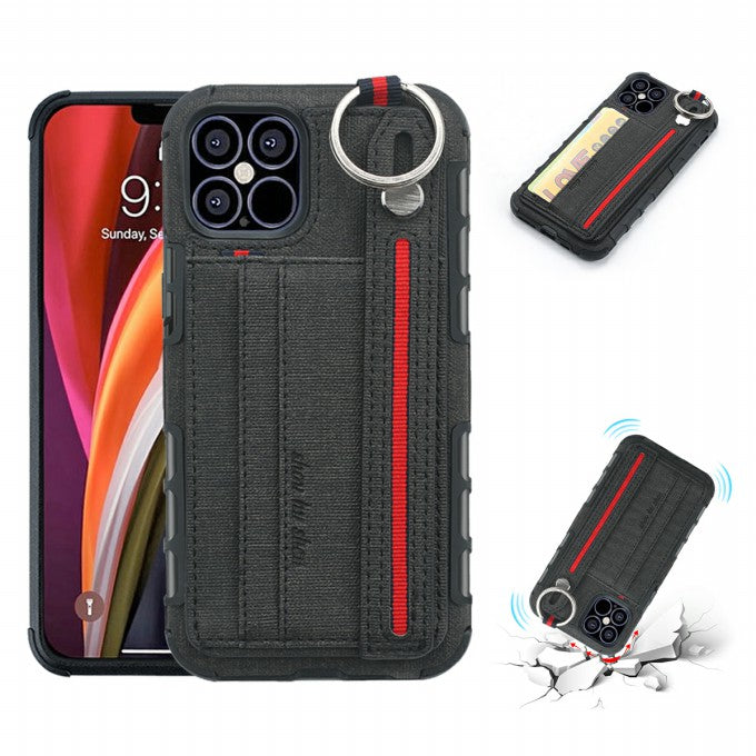Cloth Coated PC + TPU Case with Card Holder for iPhone 12 Pro Max 6.7 inch