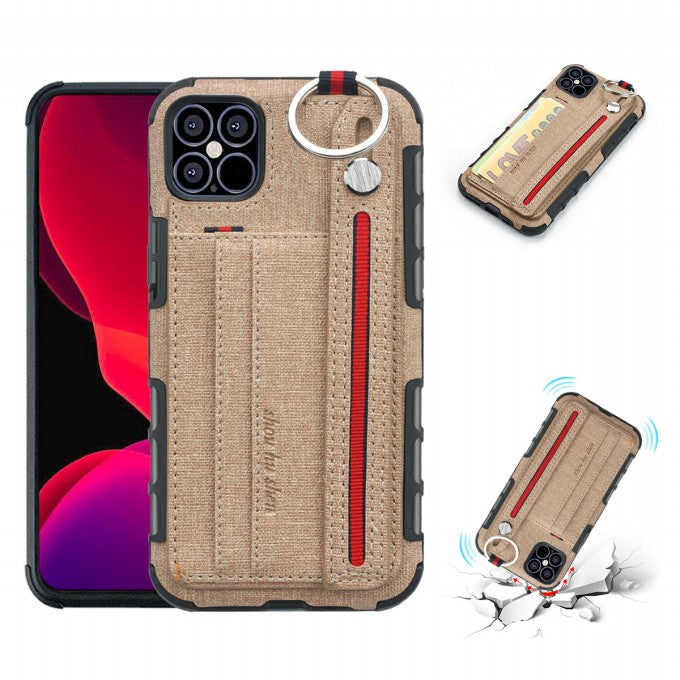 Cloth Coated PC + TPU Protective Case with Card Slots for iPhone 12 5.4 inch