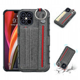 Cloth Coated PC + TPU Protective Case with Card Slots for iPhone 12 Pro 6.1 inch