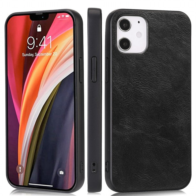 Phone Shell Crazy Horse Texture PU Leather Coated TPU Case for iPhone 12 5.4 inch