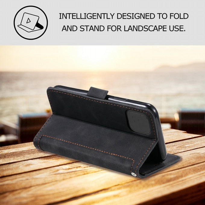 Vintage Splicing Style Cover Stand Leather Flip Shell for iPhone 12 Pro / iPhone 12 Max 6.1-inch