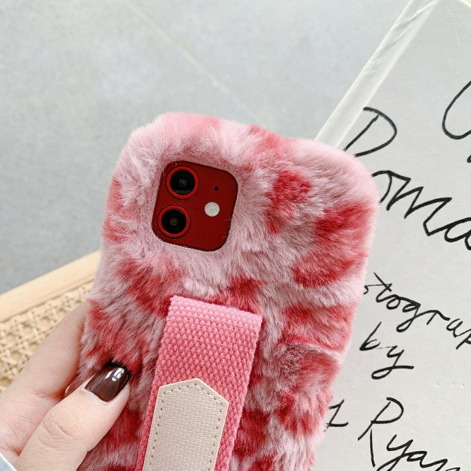Handy Strap Leopard Style Fur Coated TPU Phone Case for iPhone 12 Pro/12
