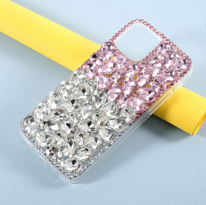 Diamond Sticking Crystal Pink+White Shell TPU Case for iPhone 12/12 Pro