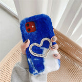 Heart Shape Beads Decor Fur Coated TPU Phone Case for iPhone 12 Pro/12