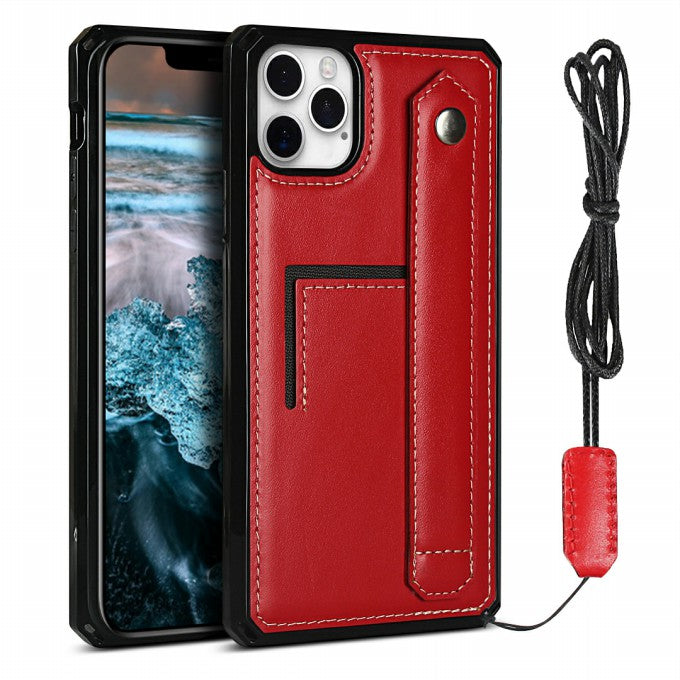 Genuine Leather Coated TPU Phone Case with Hand Strap Kickstand For iPhone 12 / 12 Pro