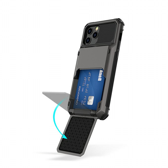 TPU+PC Hybrid Case with Flip Card Holder for iPhone 12 Pro Max