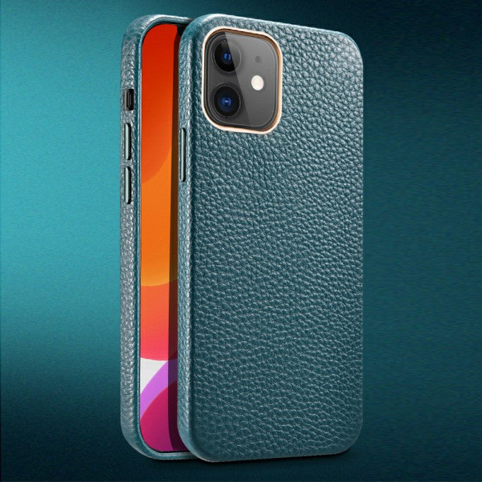 Full Cover Litchi Texture Phone Genuine Leather Case for iPhone 12 / 12 Pro